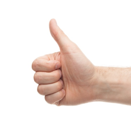 thumbs up isolated on white background photo