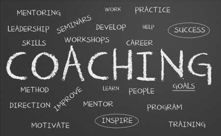 carreer: Chalkboard with coaching concept