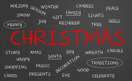 christmas carols: Chalkboard with christmas concept
