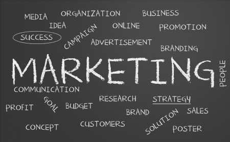 communication �crite: Tableau noir avec le concept de marketing