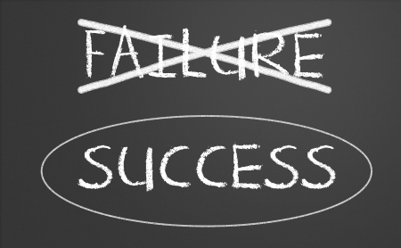 overcome: Failure crossed out and success circled