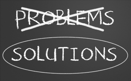circled: problemas tachado y rodeado soluciones