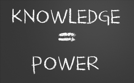 Knowledge is power written on a chalkboard photo