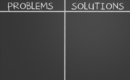 correlate: problems and solutions list on a chalkboard