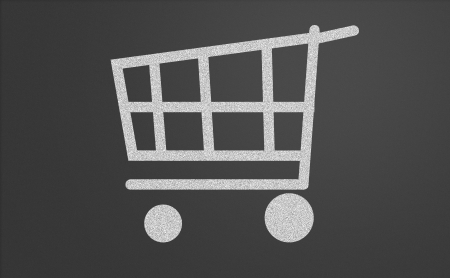 Shopping cart drawn on a chalkboard photo