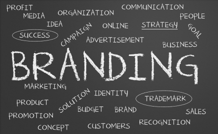 brand: Branding word cloud written on a chalkboard Stock Photo