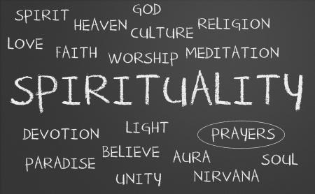 Spiritualiteit woordwolk geschreven op een schoolbord Stockfoto - 15615302
