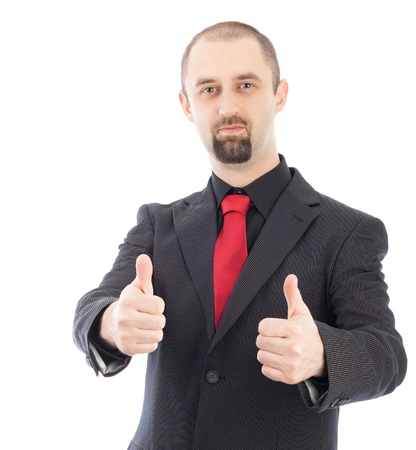 businessman with thumbs up gesture isolated over white background Stock Photo - 15763324