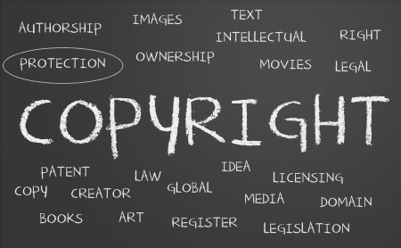 Copyright word cloud written on a chalkboard