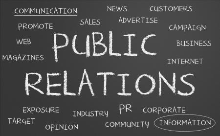 Public Relations word cloud written on a chalkboard Archivio Fotografico