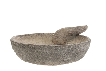 Stone mortar and pestle on a white background Stock Photo - 16528533