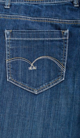 A close-up of a blue jeans pocket photo