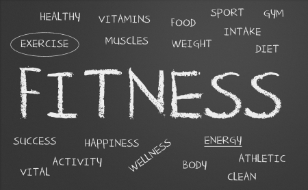 fitness word cloud written on a chalkboard photo