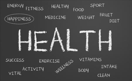 health word cloud written on a chalkboard