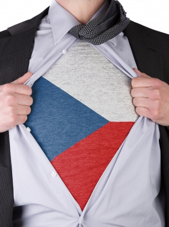 Business man rips open his shirt to show his Czechian flag t-shirt Stock Photo - 17427895