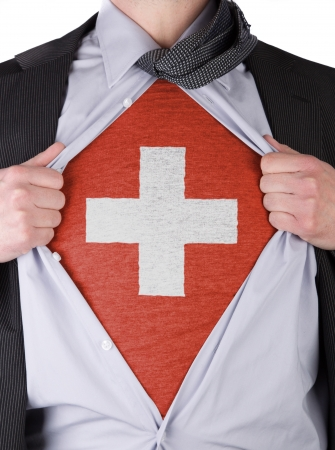 Business man rips open his shirt to show his Swiss flag t-shirt Stock Photo - 17427890