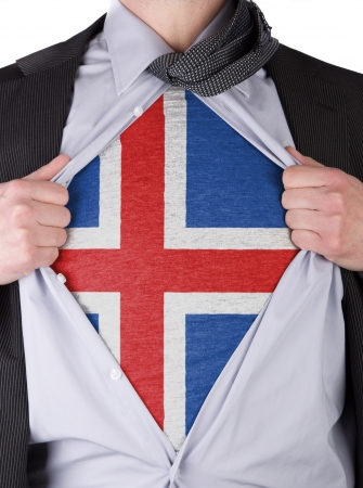 Business man rips open his shirt to show his Icelandic flag t-shirt Stock Photo - 17541361