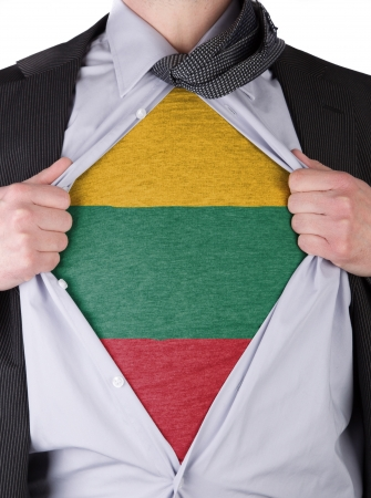 Business man rips open his shirt to show his Lithuanian flag t-shirt Stock Photo - 17541370