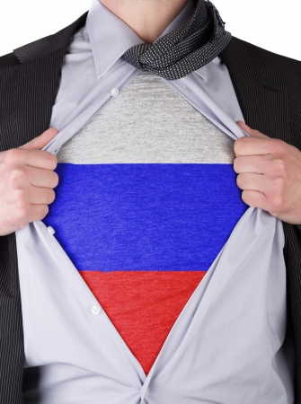 Business man rips open his shirt to show his Russian flag t-shirt Stock Photo - 17541371