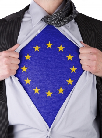 Business man rips open his shirt to show his EU flag t-shirt Stock Photo - 17541390