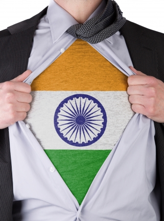 Business man rips open his shirt to show his Indian flag t-shirt Stock Photo - 17541388
