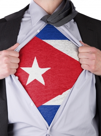 Business man rips open his shirt to show his Cuban flag t-shirt Stock Photo - 17670954