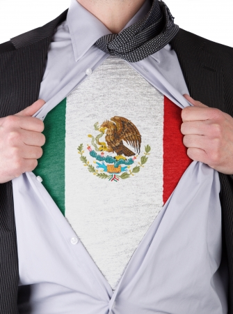 Business man rips open his shirt to show his Mexican flag t-shirt Stock Photo - 17670946