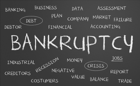 Bankruptcy word cloud written on a chalkboard Stock Photo - 17958874