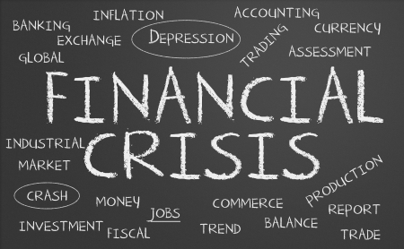 Financial crisis word cloud written on a chalkboard Stock Photo - 17958868