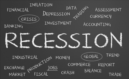 Recession word cloud written on a chalkboard photo