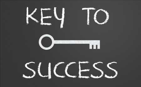 Key to success written on a chalkboard photo