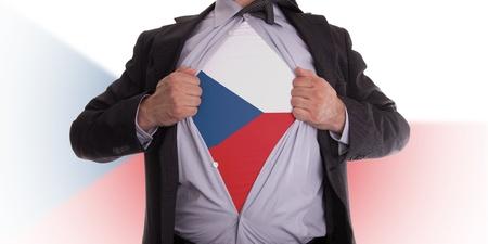Business man rips open his shirt to show his Czechian flag t-shirt Stock Photo - 18282137