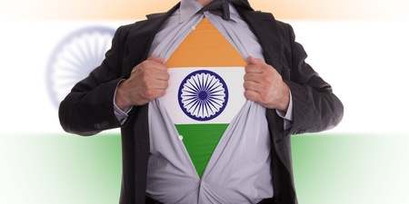 Business man rips open his shirt to show his Indian flag t-shirt Stock Photo - 18358671