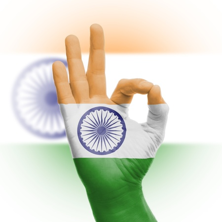 Hand OK sign, wrapped in the flag of India Stock Photo - 18358654