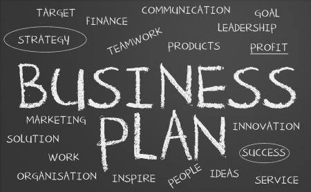 Business plan word cloud written on a chalkboard photo