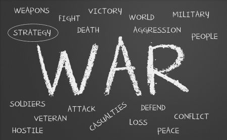 hostilities: War word cloud written on a chalkboard