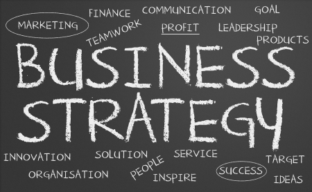 Business strategy word cloud written on a chalkboard