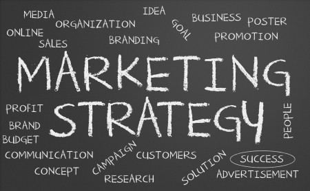 branded product: Marketing strategy word cloud written on a chalkboard Stock Photo