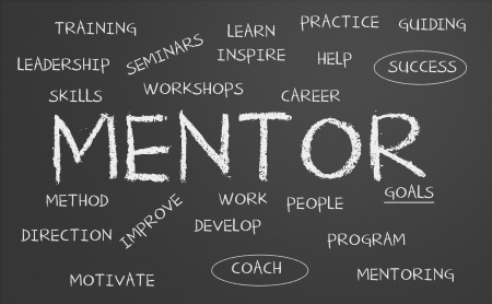 mentors: Mentor word cloud written on a chalkboard