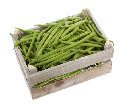wooden crate with Fresh green beans viewed from above isolated on a white background Stock Photo - 19088728