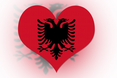 Albanian Flag in the shape of a heart photo