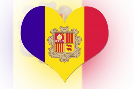 Andorran Flag in the shape of a heart photo