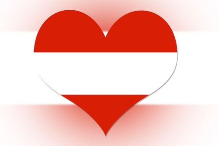 Austrian Flag in the shape of a heart photo