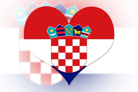 Croatians Flag in the shape of a heart photo