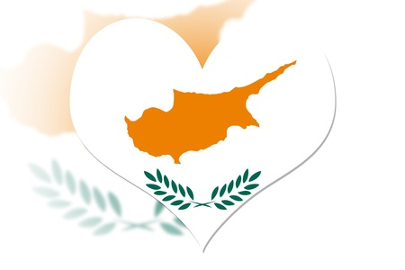 Cyprus Flag in the shape of a heart photo