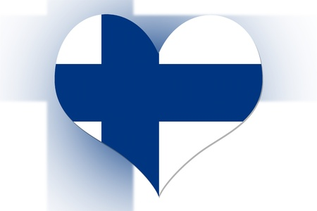 finnish: Finnish Flag in the shape of a heart Stock Photo