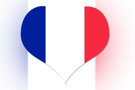 French Flag in the shape of a heart photo
