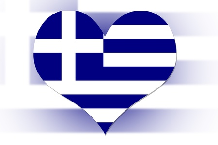 Greek Flag in the shape of a heart photo