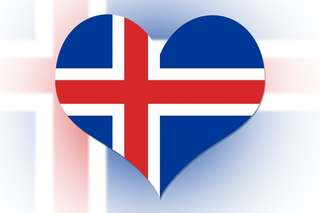 Iceland Flag in the shape of a heart photo