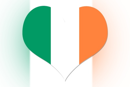 Irish Flag in the shape of a heart photo